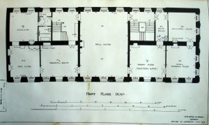 Residence first floor plan, 1929, with ballroom at centre, formed in 1906-8 from two former rooms.