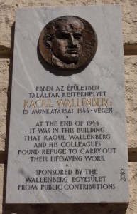 Plaque to the memory of Raoul Wallenburg on the embassy office building.