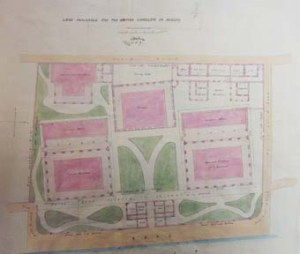 Wilberforce Wilson's 1864 layout for the consular compound on the Bund at Ningpo. Consul's residence and an office/assistants' quarters building flank a gatehouse, with a prison block directly opposite and interpreter's and constable's quarters at the rear.