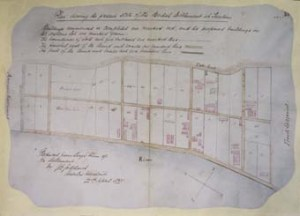 Plan of the British Settlement at Tientsin in 1865, on the Bund between the American and French settlements. Buildings marked in pink. The large one near the bottom-right corner was bought in 1868 for the consulate, and converted into the consul's residence and offices by Crossman.