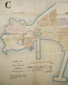 The Foreign Settlement at Chefoo in 1872: the pink triangle at upper left is the British consular compound. (North is to the left.)