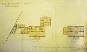 1910 plan of Mukden consul's house. The offices are in the rear single storey wing, with separate entrance. The consul reaches his office from his study in the house.