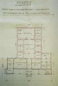 Major Crossman's 1867 sketch for offices and  gaol at Whampoa.