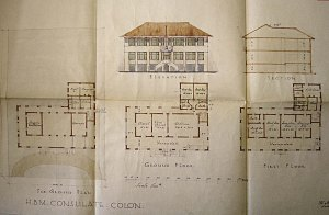 Sketch plan for vice-consulate by Howard Jones, 1934, with offices on the principal floor and residence above.