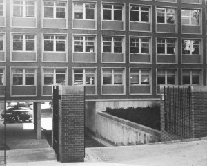 The steep 1960 vehicular entrance to the new offices building from Observatory Circle.