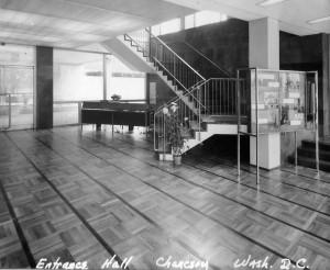 Reception desk in Entrabce Hall, 1960.