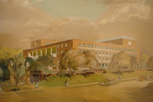 1957 perspective drawing of the new offices.