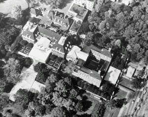 Aerial view of embassy buildings at the time of HM The Queen's State Visit to the United States in 1957. The extensive marquees were erected for HM's visit to the embassy, during which she laid a foundation stone for the new offices.