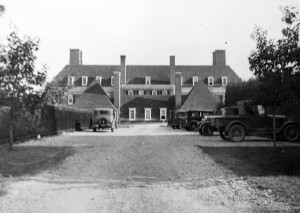 Rear of residence viewed from service entrance off Observatory Circle in 1930, indicating the slope of the site.