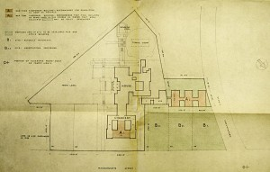 Siteplan 1943 showing office extension buildings behind residence and within chancery courtyard.