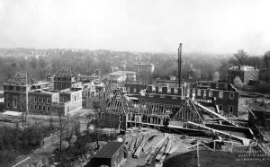 View of construction site in April 1929, from the north, with residence first floor built to windowhead level.