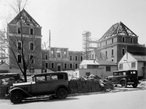 Chancery under construction, April 1929, viewed from Massachusetts Avenue.