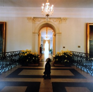 Standing on the bridge, looking down the principal residence corridor.