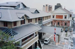 Offices entrance, with Roman Catholic cathedral beyond, 1991.