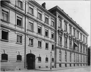 Embassy frontage to Jauresgasse. The entrance at left was into stable yard and staff quarters.