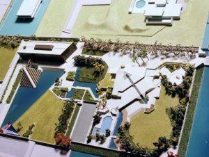 Bird's eye view of compound model of PSA's  proposed layout, 1977.