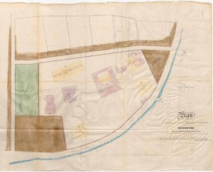 12. Shanghai. Consular site at north end of Bund, at confluence with Soochow Creek, showing first buildings. Shaded areas were sold off by a consul without authorisation in the early 1860s – part of the chaos that Crossman was sent to sort out.