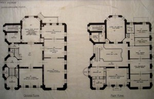 Ground and first floor plans of Hodgson House.