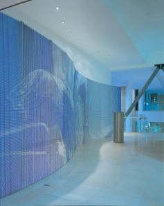 Glass screen by Alexander Beleschenko, connecting the main  hall to the main corridor.