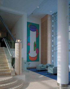 Michael Craig-Martin's Lighthouse in the main hall.