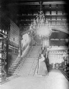 The main hall and stair, c. 1903.