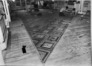 Relaying the Ballroom floor, 1974.