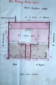 1907 record drawing of site of rue d'Anjou stables, showing access to rear of site between two pieces of land sold in ????.