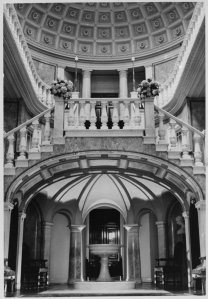 Staircase hall, looking towards the dining room.