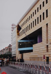 New embassy, flying the Royal Standard, on the day of its opening by HM The Queen in 2000.