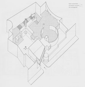 Michael Wilford's axonometric drawing of the arrangement of the new building.