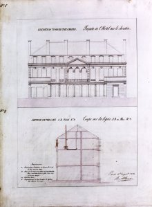 Albano's drawing of north elevation, and a section, 1852.