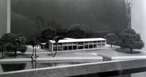 Model of Lionel Brett's design for the new residence, 1958, with Lagos Lagoon in foreground.