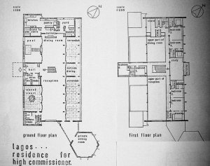 Schematic plans of new residence: ground floor on the left, first floor on right.
