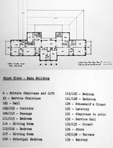 First floor plan, as built, 1950.