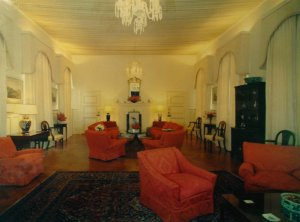 Durbar hall, with doors to dining room beyond fireplace, 1972.