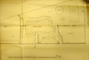 Layout drawing of proposed house and garden, 1900.