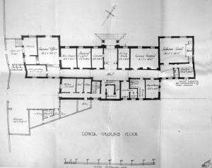 Proposed ground floor plan, 1927, with entrance to offices from top.