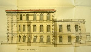 1913 drawing showing Allison's parapet  remodelling of 1903 building to reduce its weight.