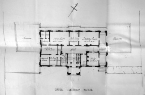Proposed first floor plan, 1927, with entrance to residence    from garden at bottom.