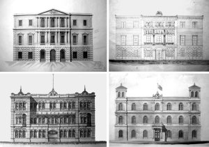 Main elevation drawings of proposals by (clockwise from top left) Sofia, Heinze, Donaldson and MacDermott.