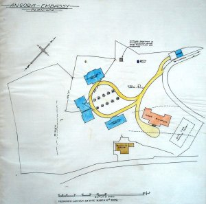 Compound layout idea, 1929: First Building in red.