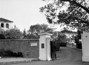 Entrance to compound, 1964, with residence straight ahead and offices to left.