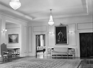 View across hall to drawing room, 1964.