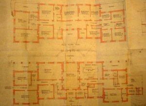 Ground (below) and first floor plans of First Building, 1926: