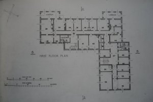 First floor plan of late-1940s offices extension to First Building..