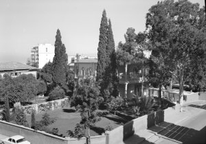Residence viewed from SW across newly-acquired garden area, 1964.