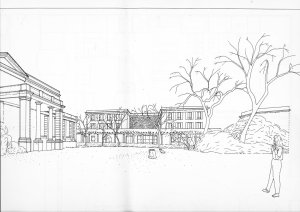 Proposal for new visa office, with staff flats above, on site of ballroom, by Jeremy Dixon architect, 1989.