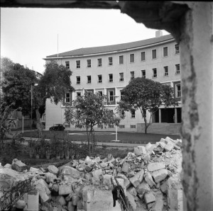 New offices, 1956, with demolition of Bacos building in foreground.