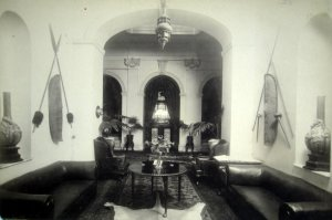 The small hall, looking across the main hall to front door and stair, 1930.