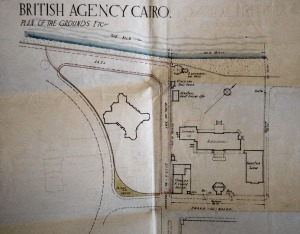 Siteplan of compound, 1924, showing Bacos land and building at left, and south.